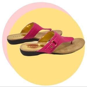 LRL Pebbled Leather Kendra Thong Sandals, Pink 9.5
